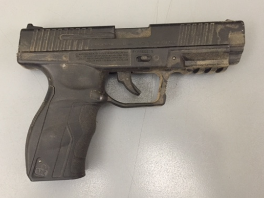 Officials with the Ventura County Sheriff's Office said they recovered this pictured replica BB gun Wednesday morning after a man threatened to shoot a deputy.
