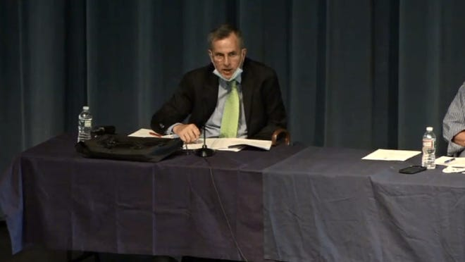 Town Administrator Michael Boynton speaks at Medway's Special and Annual Town Meetings on Monday night.