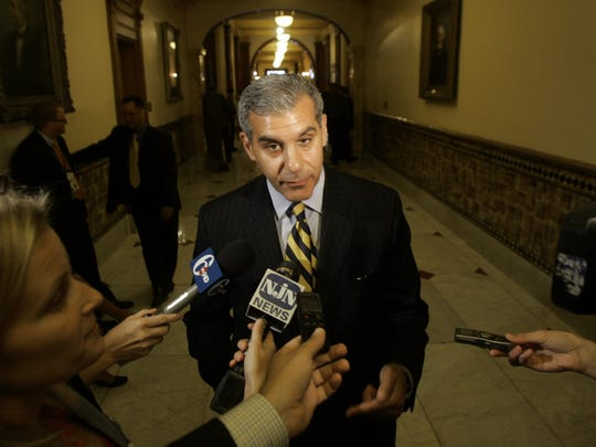 Senator Joseph Kyrillos (R-Monmouth) speaks with reporters outside the Assembly Chamber at the Statehouse in Trenton where Governor Chris Christie was to pitch his property tax cap proposal to a joint session of the Legislture.     7/1/10 - TRENTON, NJ - CHRISTIECAP0701J - ASBURY PARK PRESS PHOTO BY THOMAS P. COSTELLO