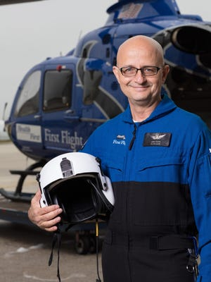 """David """"Dave"""" Segona is a registered nurse/certified emergency nurse, Emergency Medical Technician-Paramedic at Health First. He's based at the First Flight hangar at Orlando Melbourne International Airport."""