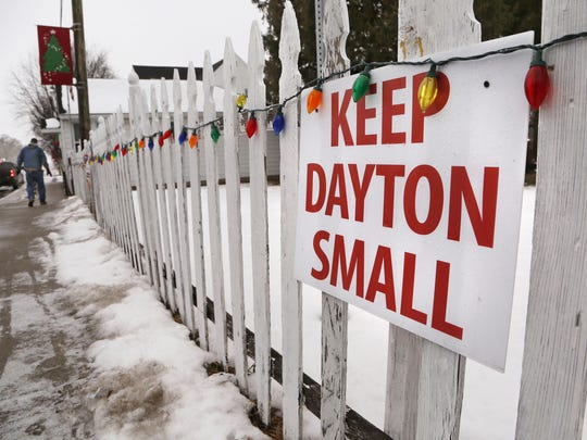 Keep Dayton Small sign posted just east of the Post