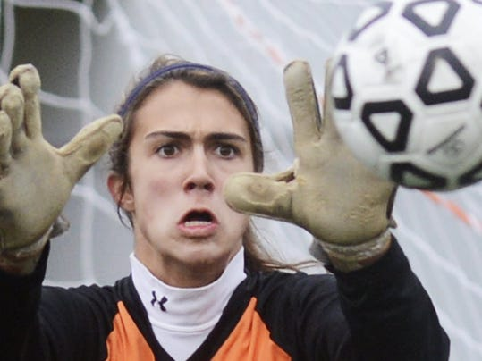 York Catholic goalie Hannah Laslo keeps eyes on the ball during the District 3 Class A semifinal last year against Tulpehocken at Helpfield High School in Landisville. (DAILY RECORD/SUNDAY NEWS -- KATE PENN)
