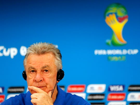 Switzerland's coach Ottmar Hitzfeld pauses during a press conference at the Arena da Amazonia in Manaus, Brazil, Tuesday, June 24, 2014, one day before the group E match between Honduras and Switzerland of the 2014 soccer World Cup. (AP Photo/Frank Augstein)