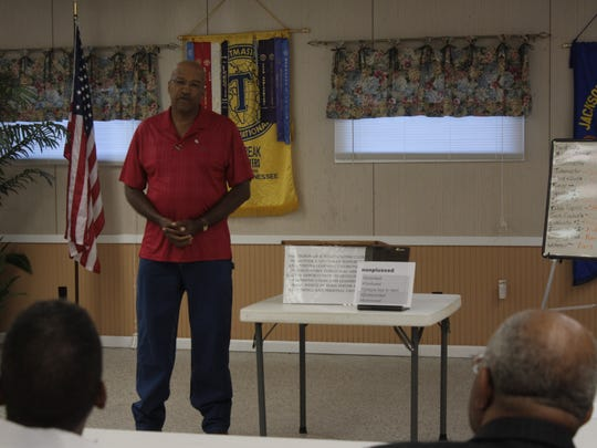 A Toastmasters member gives a speech at a Daybreak Toastmasters meeting in July.