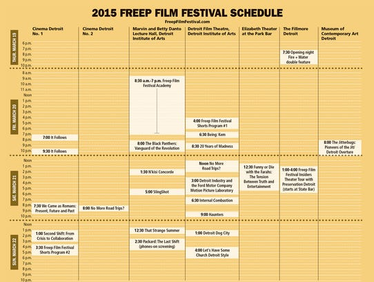 2015 Freep Film Festival schedule