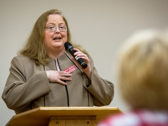 Dawn Wooten, who is vying for the Republican nomination for Indiana superintendent of public instruction, spoke May 9, 2016, at the Kennedy Library in Muncie.