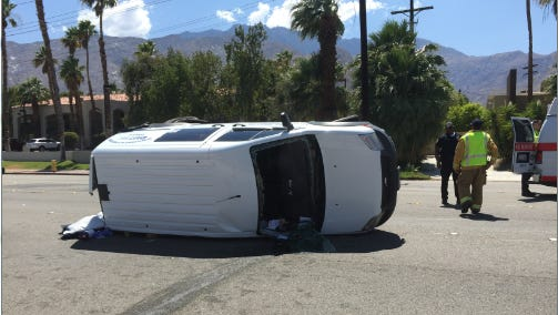 Two cars collided near the intersection of Via Escuela and Indian Canyon Drive Friday afternoon.