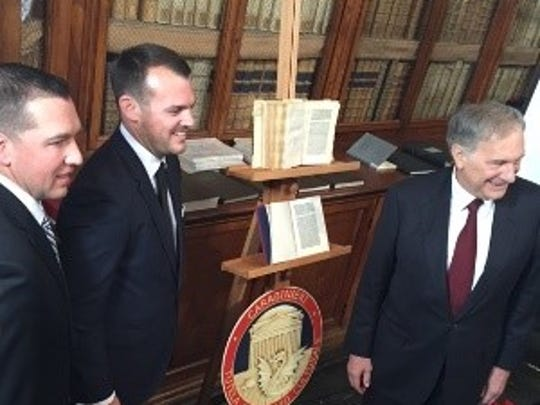 HSI Special Agent Mark Olexa, Assistant U.S. Attorney Jamie M. McCall, and John R. Phillips, Ambassador to Italy, were part of a repatriation ceremony Wednesday. A rare copy of a letter penned by explorer Christopher Columbus was returned to Italy after being stolen from a museum in Florence.