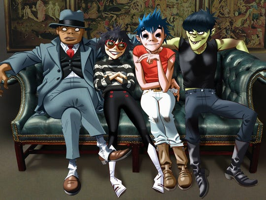The cartoon bandmates of Gorillaz, from left: Russel,