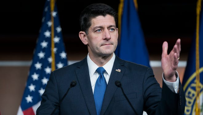 Republican Speaker of the House Paul Ryan talks about the Republican tax bill on Capitol Hill on Thursday.