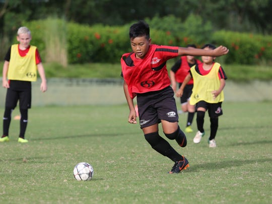 : Wings FC's Riku Meyar runs to get in position to