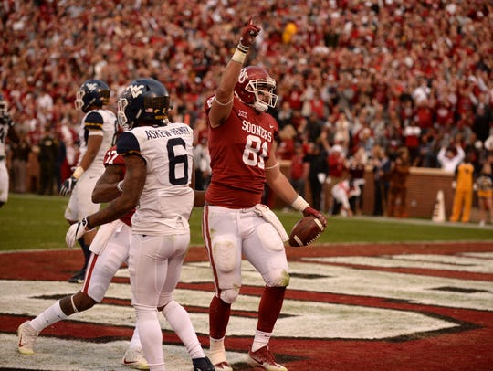 Oklahoma Sooners tight end Mark Andrews (81), who played