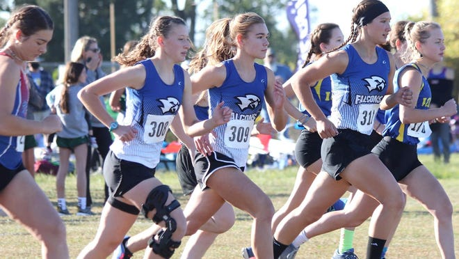 West Franklin girls country runners Emma Bailey, Hope Crabtree, Lily Judd finished in the top 11 at the Central Heights Invitational. [SUBMITTED PHOTO].