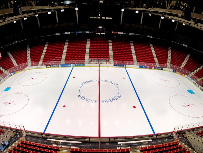 Exhibits at the Lake Placid Olympic Center in New York honor the storied 1980 hockey final game, when the Soviet Union was upstaged by the young Team USA.