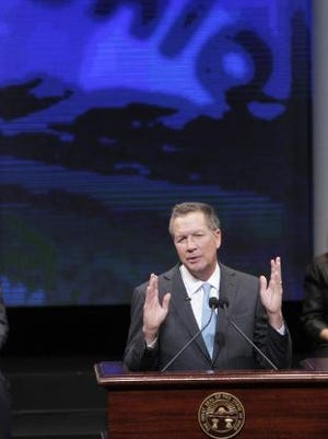 Ohio Gov. John Kasich speaks after being sworn in for his second term during the ceremonial swearing-in in Columbus.