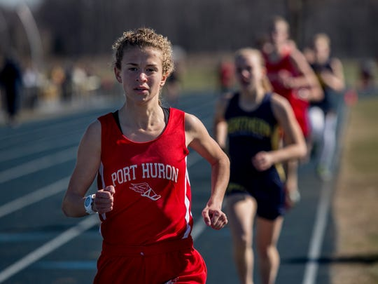 Port Huron senior Rachel Bonner leads in the 1600-meter
