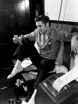 """Elvis Presley dropped by The Commercial Appeal on the night of June 8, 1956, and found an offbeat note. He saw a story that a Canadian radio station was banning his records. """"A lot of people like it,"""" was one of his comments. Returning bronzed and some 12 pounds lighter from his triumphant two-week stand at the New Frontier Club in Las Vegas, Presley said, """"Man, I really liked Vegas. I'm going back there first chance I get."""""""