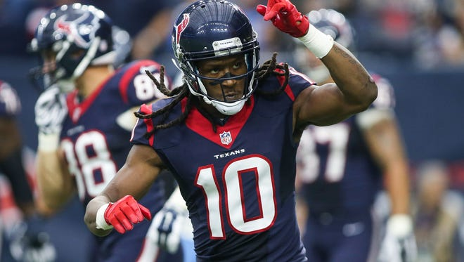 Houston Texans wide receiver DeAndre Hopkins reacts after scoring a touchdown during the game against the Tennessee Titans at NRG Stadium in 2015.