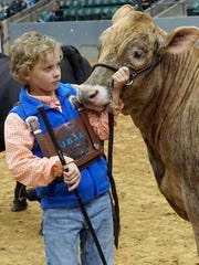 Ayden Wolken, 10, seen here with a bull at this year's
