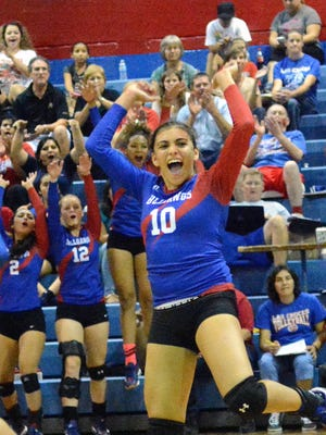 Las Cruces High's Alyssa Barrera celebrates during the Bulldawgs' 3-1 District 3-6A victory over Mayfield on Tuesday at Las Cruces High.