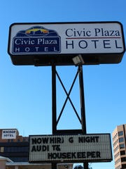 The Civic Plaza Hotel's sign.