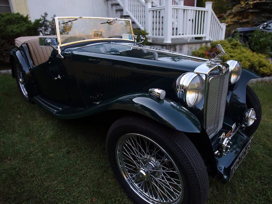 A view of a 1949 MG TC in Ossining.