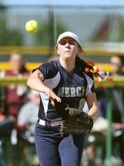 Mercy third baseman Gabrielle Schlehr throws out Veronica