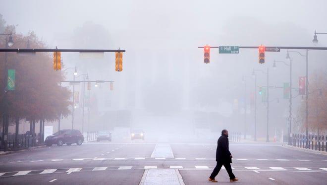 Heavy fog enshrouds Montgomery, Ala. on Wednesday morning December 21, 2016.
