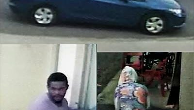 Phoenix Police say this man, woman and vehicle are connected to a Dec. 15 burglary.