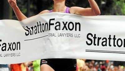 Former University of Iowa runner Meghan Peyton, winning the 2013 USA 20K championship in New Haven, Conn.