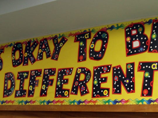 A bulletin board inside the Viola Sickles School in