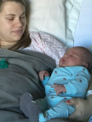 Ashley Wells gave birth to a 12-pound, 8-ounce, 24-inch tall baby named Kasen Michael Box on Monday, Jan. 11, 2016.