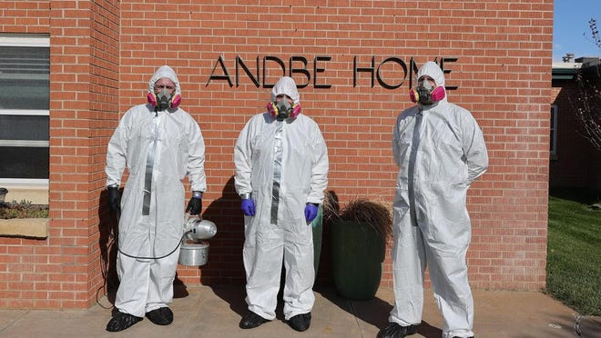 Bio-One owner Travis Hansen and two members of his team, Tim Armstrong and Barry Blassingame, made the 10-hour round trip to Norton to disinfect and sanitize the Andbe Home facility completely free of charge.