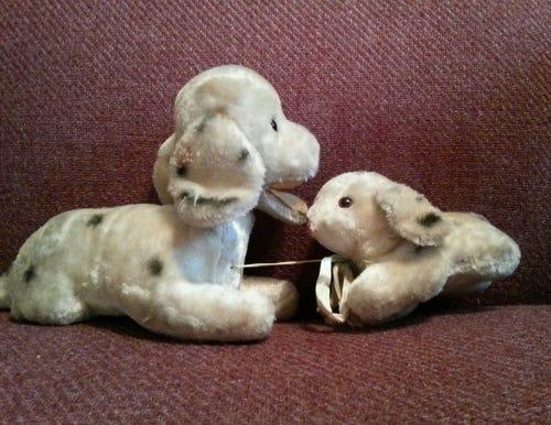 Adrienne Giordano's beloved stuffed dog and her puppy. (Photo: Adrienne Giordano)