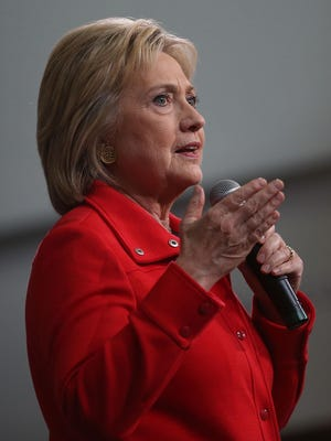 """Democratic presidential candidate former Secretary of State Hillary Clinton speaks during a """"get out the caucus"""" event at Iowa State University on Saturday."""