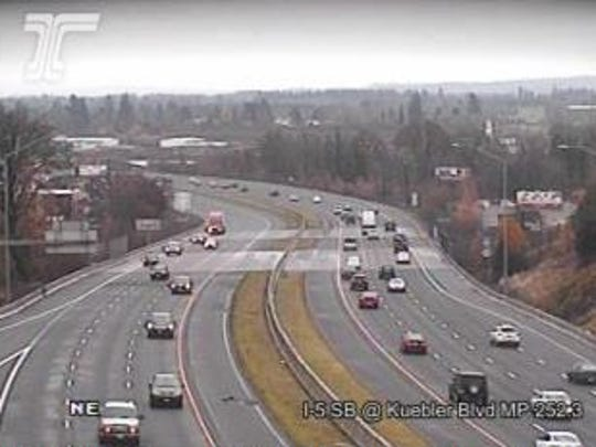 I-5 at Kuebler Blvd. Wednesday morning.