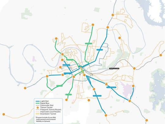 Under Mayor Megan Barry's revamped light rail plans,