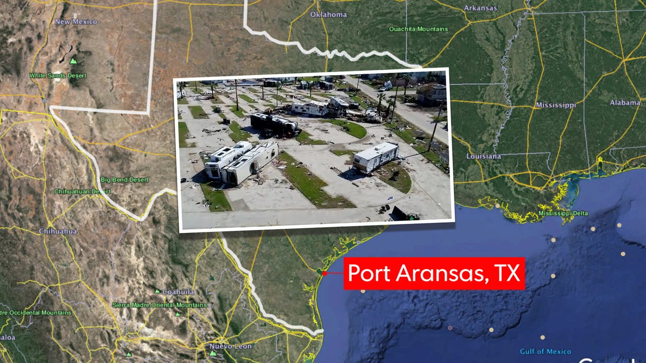 Drone footage of Port Aransas, Texas