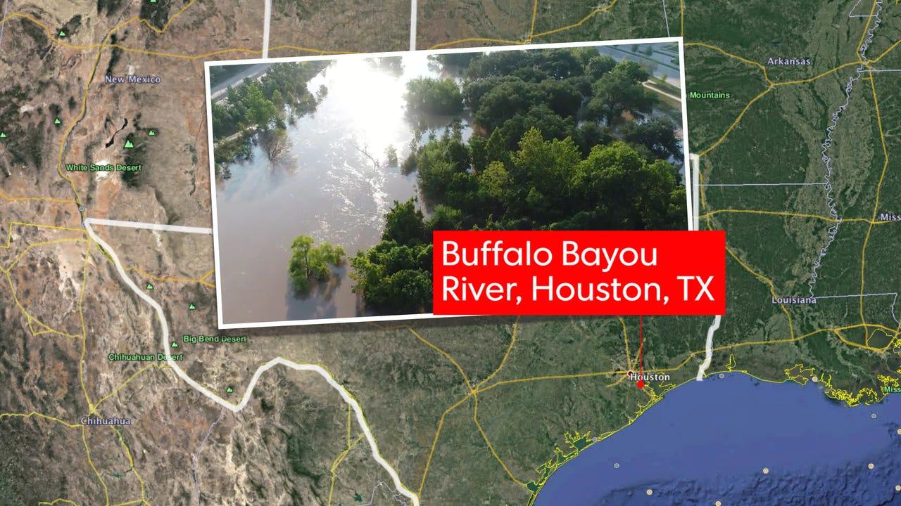 Drone footage in Buffalo Bayou, Texas.