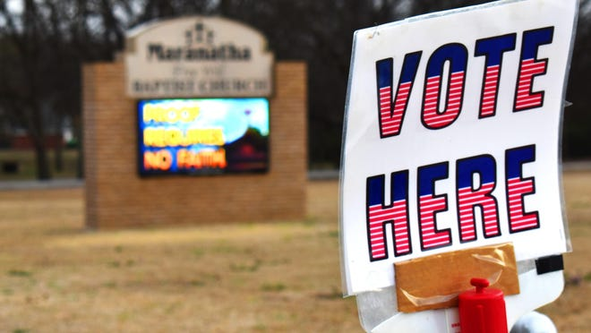 A sign at Marantha Free Will Baptist Church during the primary election last May. This Friday, March 12 is the final day to register to vote for the local elections set for April 6.