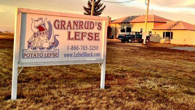 Granrud's Lefse factory just outside Opheim glows in the sunset.