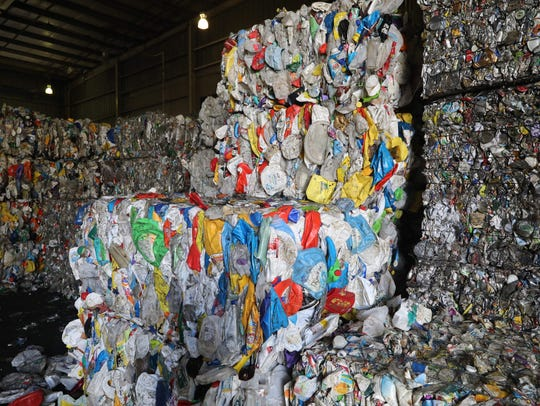 Bales of compressed plastic at the Rockland County