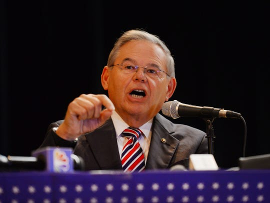 U.S. Senator Robert Menendez speaks during the City