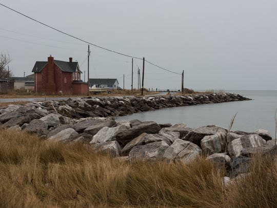 A view of the shoreline of Hooper's Island along Hoopersville Road overlooking the Chesapeake Bay on Tuesday, Dec. 6, 2016.