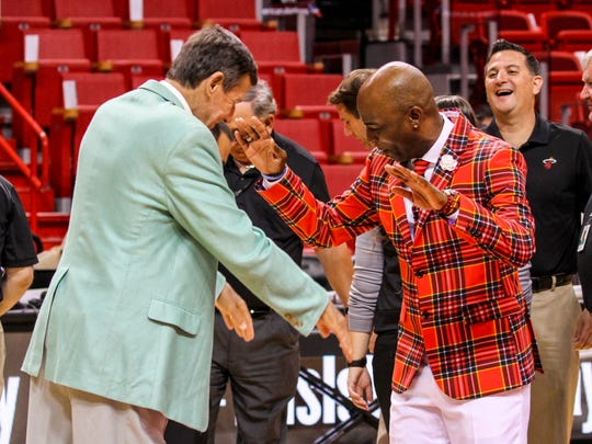 Craig Sager reacts to seeing Dale McLean, arena host's jacket before the game. They honored Sager at Thursday nightÕs game. Craig Sager, the eccentric TNT/TBS NBA sideline reporter began his broadcast career with WINK-TV in Fort Myers in the mid-1970s. HeÕs now renewing his very public battle against leukemia while still working NBA games. He worked the Chicago Bulls at Miami Heat game on Thursday, April 7, 2016.