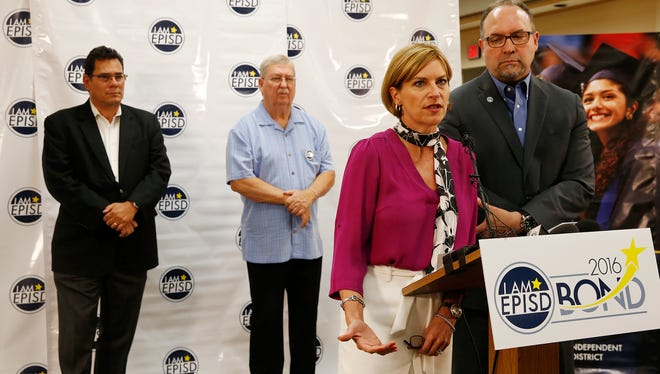 Doris Fenenbock, President of the EPISD Board of Trustees and El Paso Independent School District Superintendent Juan Cabrera addressed the media after their press conference outlining the proposed $669 million bond issue that will be placed before the voters this coming November. Joining them were EPISD trustees Al Velarde, Bob Geske, and Diane Dye.