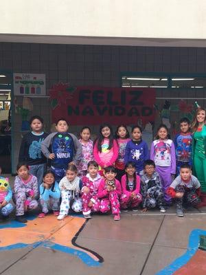 Jennifer Sanchez's second-grade class at their 'Polar Express PJ Party' last year.