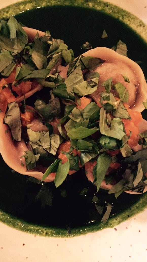 The fermented vegetable dumplings, which happen to be vegan, are an unexpected delight.