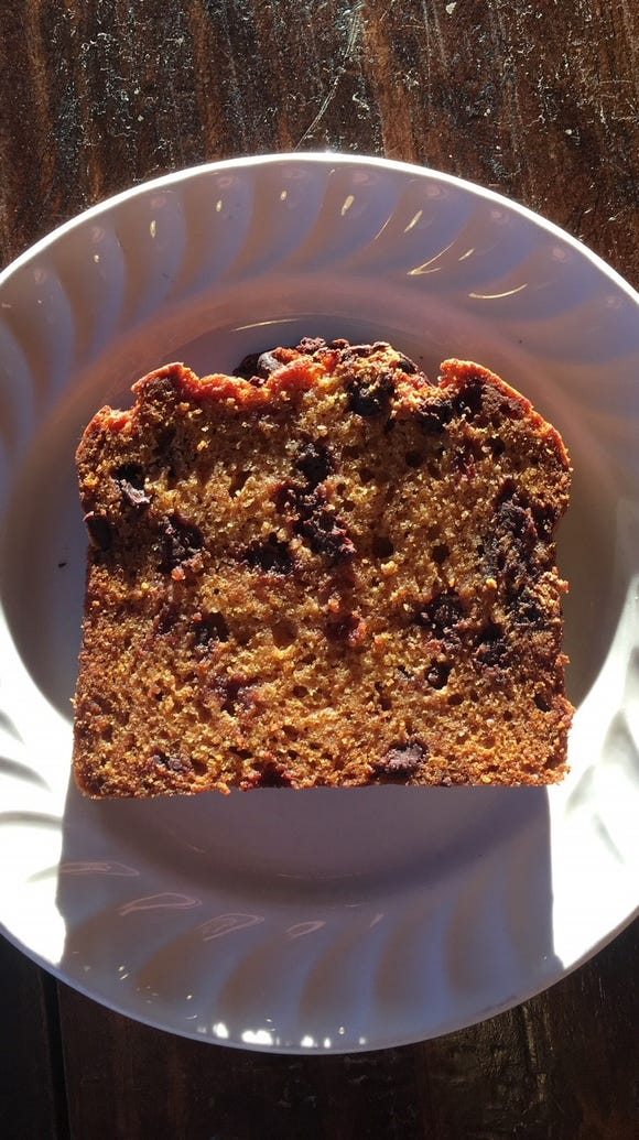 A slice of Pumpkin Tea Cake from Queen City Bakery,