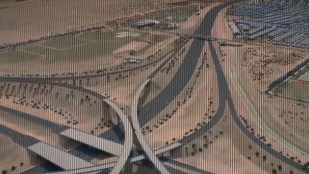 This is part of a 3-D map that the Arizona Department of Transportation released showing the route of the Loop 202-South Mountain Freeway expansion.